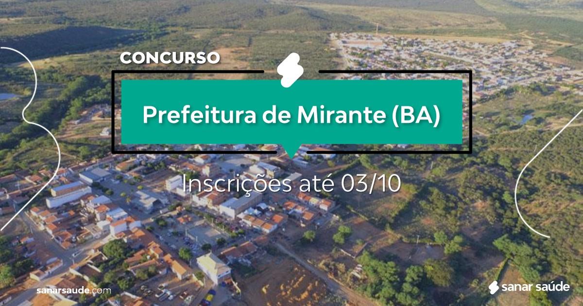Concurso de Mirante - BA: vagas imediatas na Saúde!